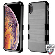 MyBat TUFF Hybrid Protector Cover [Military-Grade Certified] for Apple iPhone XS Max - Dark Gray Brushed / Black