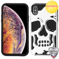 MyBat Skullcap Hybrid Protector Cover [Military-Grade Certified] for Apple iPhone XS Max - Silver Plating / Black