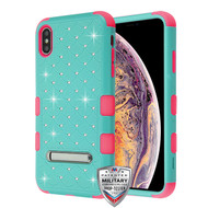 MyBat FullStar TUFF Hybrid Protector Cover (with Magnetic Metal Stand)[Military-Grade Certified] for Apple iPhone XS Max - Natural Teal Green / Electric Pink