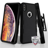 MyBat TUFF Hybrid Protector Case Combo [Military-Grade Certified](with Black Horizontal Holster) for Apple iPhone XS Max - Natural Black / Black