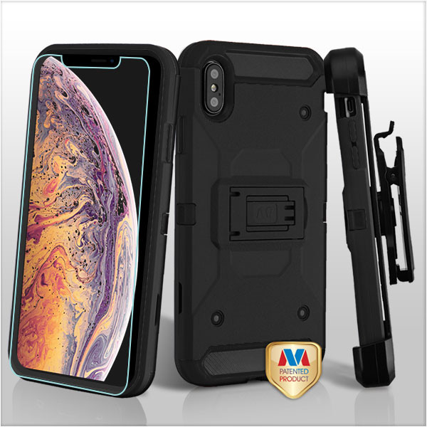 MyBat 3-in-1 Kinetic Hybrid Protector Cover Combo (with Black Holster)(Tempered Glass Screen Protector) for Apple iPhone XS Max - Black / Black