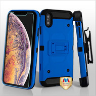 MyBat 3-in-1 Kinetic Hybrid Protector Cover Combo (with Black Holster)(Tempered Glass Screen Protector) for Apple iPhone XS Max - Blue / Black