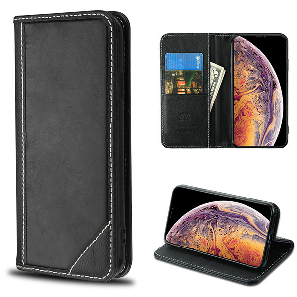 MyBat Genuine Leather MyJacket Wallet for Apple iPhone XS Max - Black