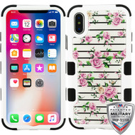 MyBat TUFF Krystal Gel Hybrid Protector Cover [Military-Grade Certified] for Apple iPhone XS/X - Pink Fresh Roses (Natural Ivory White) / Black
