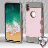 MyBat TUFF Trooper Hybrid Protector Cover [Military-Grade Certified] for Apple iPhone XS/X - Rose Gold / Iron Gray