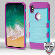 MyBat Brushed TUFF Trooper Hybrid Protector Cover [Military-Grade Certified] for Apple iPhone XS/X - Metallic Baby Blue / Electric Purple