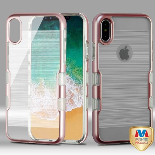 MyBat TUFF Brushed Panoview Hybrid Protector Cover for Apple iPhone XS/X - Metallic Rose Gold / Transparent Clear