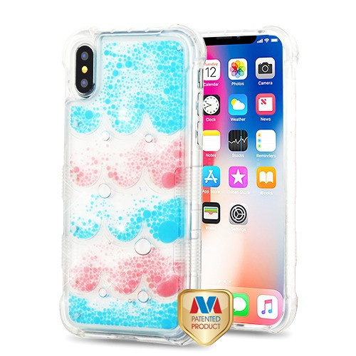 MyBat TUFF AquaLava Hybrid Protector Cover for Apple iPhone XS/X - Transparent Semicircle Partition (Blue / Pink Oil)