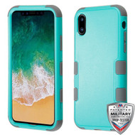 MyBat TUFF Hybrid Protector Cover [Military-Grade Certified] for Apple iPhone XS/X - Natural Teal Green / Iron Gray