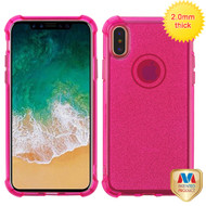MyBat Sheer Glitter Premium Candy Skin Cover for Apple iPhone XS/X - Transparent Hot Pink