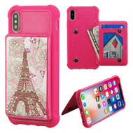 MyBat Flip Wallet Executive Protector Cover(with Snap Fasteners) for Apple iPhone XS/X - Eiffel Tower Diamante / Hot Pink