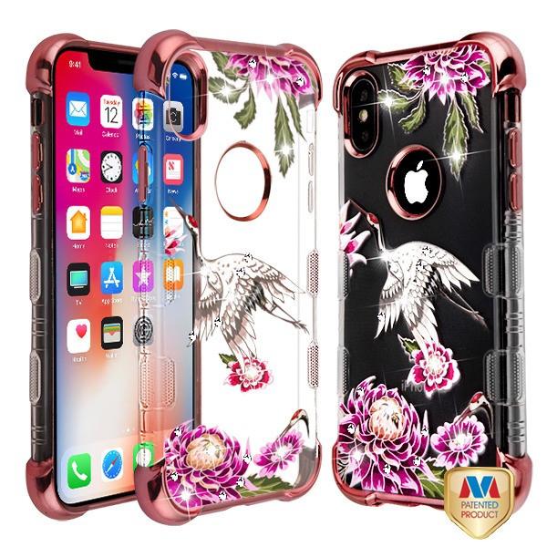 MyBat Diamante TUFF Klarity Lux Candy Skin Cover for Apple iPhone XS/X - Rose Gold Plating / Crane