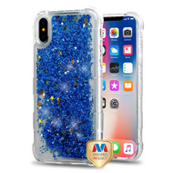 MyBat TUFF Quicksand Glitter Lite Hybrid Protector Cover for Apple iPhone XS/X - Blue Flowing Sparkles