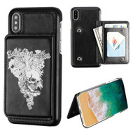 MyBat Executive Protector Cover (PC Case with Snap Fasteners) for Apple iPhone XS/X - Skull Wing / Black Flip Wallet