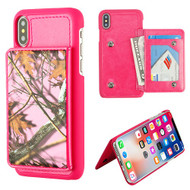MyBat Executive Protector Cover (PC Case with Snap Fasteners) for Apple iPhone XS/X - Pink Oak-Hunting Camouflage Collection / Hot Pink Flip Wallet