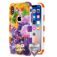 MyBat TUFF Hybrid Protector Cover [Military-Grade Certified] for Apple iPhone XS/X - Chrysanthemum Field / Orange and Purple