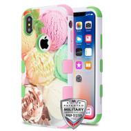MyBat TUFF Hybrid Protector Cover [Military-Grade Certified] for Apple iPhone XS/X - Ice Cream Scoops / Electric Green & Soft Pink