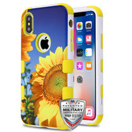 MyBat TUFF Hybrid Protector Cover [Military-Grade Certified] for Apple iPhone XS/X - Sunflower Field / Yellow