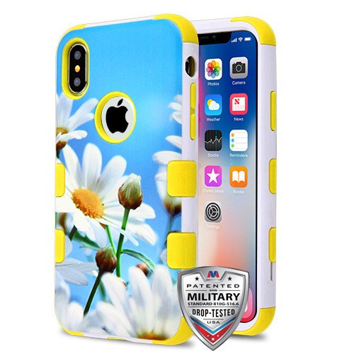 MyBat TUFF Hybrid Protector Cover [Military-Grade Certified] for Apple iPhone XS/X - Daisy Field / Yellow