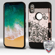 MyBat TUFF Trooper Hybrid Protector Cover [Military-Grade Certified] for Apple iPhone XS/X - Black Lace Flowers (2D Rose Gold) / Black