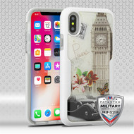 MyBat TUFF Contempo Hybrid Protector Cover for Apple iPhone XS/X - Big Ben (Natural Ivory White) / Transparent Clear