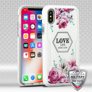 MyBat TUFF Contempo Hybrid Protector Cover for Apple iPhone XS/X - Romantic Love Flowers (Natural Ivory White) / Transparent Clear
