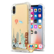 MyBat TUFF AquaLava Hybrid Protector Cover for Apple iPhone XS/X - Famous Landmarks (Fire Ballloon / White Cloud) / Transparent Oil