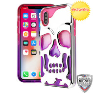 MyBat SKULLCAP Lucid Hybrid Protector Cover [Military-Grade Certified] for Apple iPhone XS/X - Silver Plating / Hot Pink / Purple
