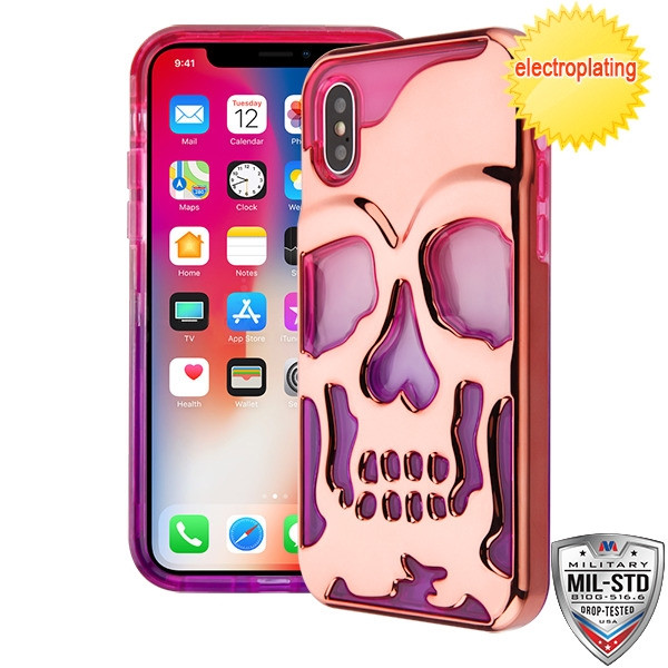 MyBat SKULLCAP Lucid Hybrid Protector Cover [Military-Grade Certified] for Apple iPhone XS/X - Rose Gold Plating / Hot Pink / Purple