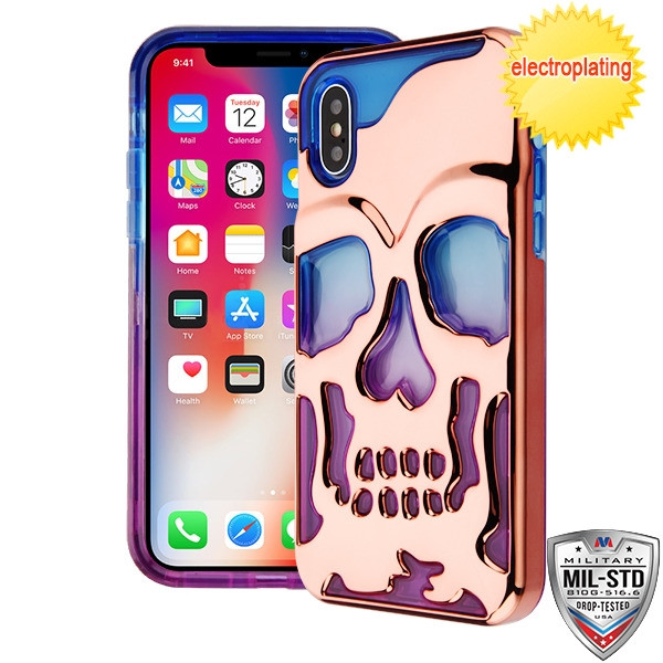 MyBat Skullcap Lucid Hybrid Protector Cover [Military-Grade Certified] for Apple iPhone XS/X - Rose Gold Plating / Blue / Purple
