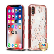 MyBat TUFF Panoview Hybrid Protector Cover for Apple iPhone XS/X - Metallic Rose Gold / Electroplating Rose Gold Hibiscus Flower (Transparent Clear)