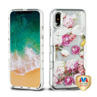 MyBat TUFF Panoview Hybrid Protector Cover for Apple iPhone XS/X - Metallic Silver / Roses Diamante