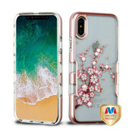 MyBat TUFF Panoview Hybrid Protector Cover for Apple iPhone XS/X - Metallic Rose Gold / Spring Flowers Diamante