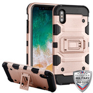 MyBat Storm Tank Hybrid Protector Cover [Military-Grade Certified] for Apple iPhone XS/X - Rose Gold / Black