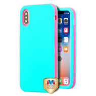 MyBat VERGE Hybrid Protector Cover [New Improved Design] for Apple iPhone XS/X - Rubberized Teal Green / Electric Pink