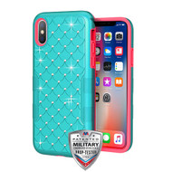 MyBat TUFF Contempo Hybrid Protector Cover for Apple iPhone XS/X - Teal Green / Electric Pink FullStar