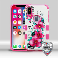 MyBat TUFF Merge Hybrid Protector Cover [Military-Grade Certified] for Apple iPhone XS/X - Morning Petunias / Hot Pink