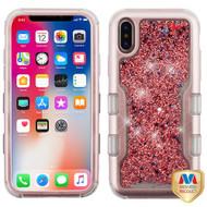 MyBat TUFF Quicksand Glitter Hybrid Protector Cover for Apple iPhone XS/X - Rose Gold / Rose Gold Sparkles Liquid Flowing