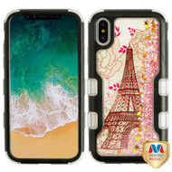 MyBat TUFF Quicksand Glitter Hybrid Protector Cover for Apple iPhone XS/X - Natural Black / Eiffel Tower & Pink Stars