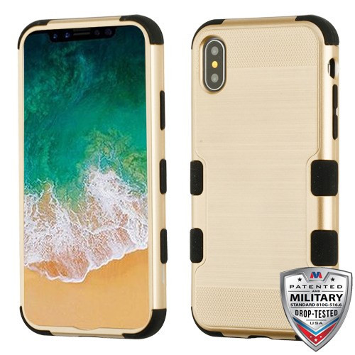 MyBat TUFF Hybrid Protector Cover [Military-Grade Certified] for Apple iPhone XS/X - Gold Brushed / Black