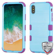 MyBat TUFF Hybrid Protector Cover [Military-Grade Certified] for Apple iPhone XS/X - Metallic Baby Blue Brushed / Electric Purple