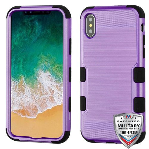 MyBat TUFF Hybrid Protector Cover [Military-Grade Certified] for Apple iPhone XS/X - Purple Brushed / Black