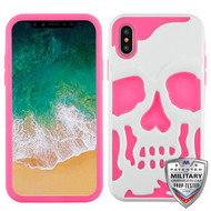 MyBat Skullcap Hybrid Protector Cover [Military-Grade Certified] for Apple iPhone XS/X - Ivory White / Electric Pink