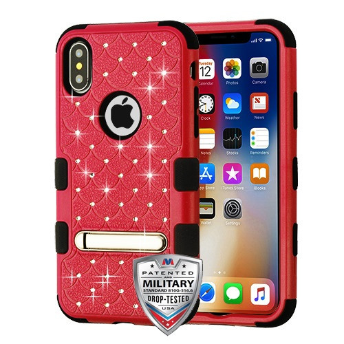MyBat FullStar TUFF Hybrid Protector Cover (with Magnetic Metal Stand)[Military-Grade Certified] for Apple iPhone XS/X - Natural Red / Black