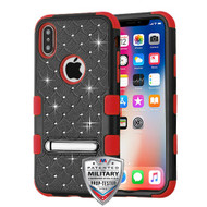MyBat FullStar TUFF Hybrid Protector Cover (with Magnetic Metal Stand)[Military-Grade Certified] for Apple iPhone XS/X - Natural Black / Red