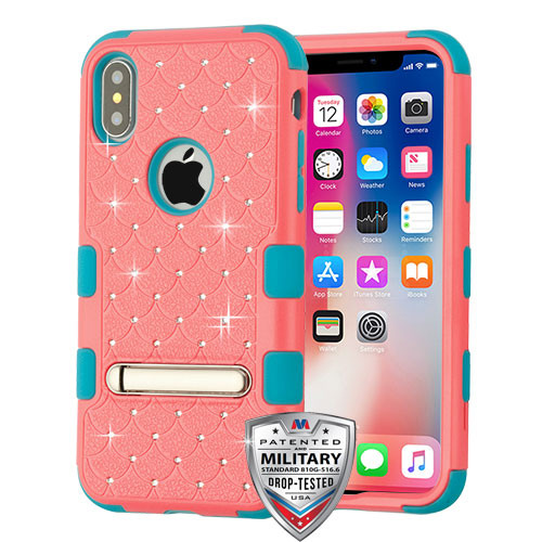 MyBat FullStar TUFF Hybrid Protector Cover (with Magnetic Metal Stand)[Military-Grade Certified] for Apple iPhone XS/X - Natural Baby Red / Tropical Teal