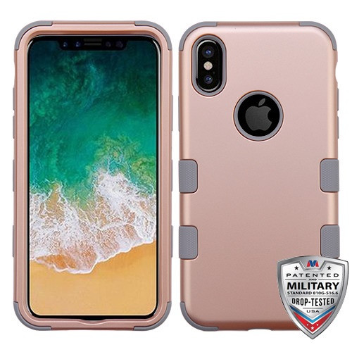 MyBat TUFF Hybrid Protector Cover [Military-Grade Certified] for Apple iPhone XS/X - Rose Gold / Iron Gray