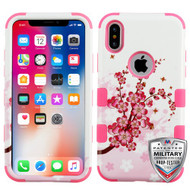 MyBat TUFF Hybrid Protector Cover [Military-Grade Certified] for Apple iPhone XS/X - Spring Flowers / Electric Pink