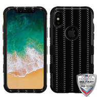 MyBat TUFF Hybrid Protector Cover [Military-Grade Certified] for Apple iPhone XS/X - BlackStripedSuit / Black