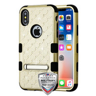 MyBat FullStar TUFF Hybrid Protector Cover (with Magnetic Metal Stand)[Military-Grade Certified] for Apple iPhone XS/X - Gold / Black